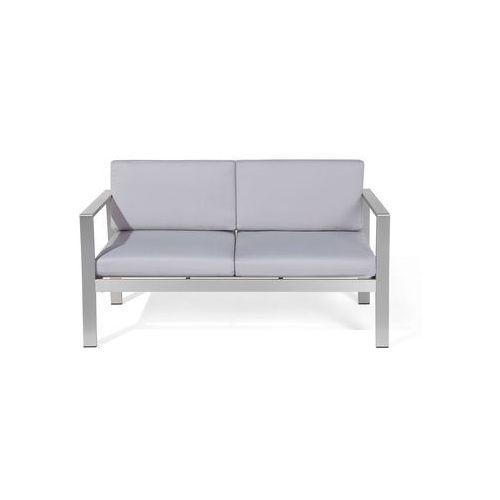 Beliani Sofa ogrodowa aluminium 2-osobowa jasnoszare poduchy salerno (4260586358117)