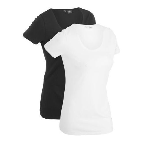 T-shirt (2 szt.), krótki rękaw czarny + biały marki Bonprix