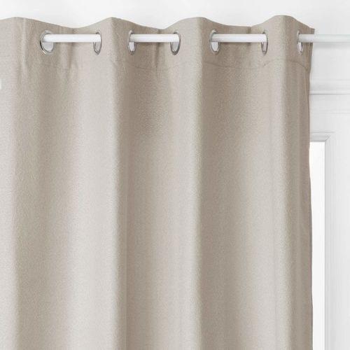 Stylowa zasłona, kolor jasnoszary, wykonana z poliestru, wymiary 260 x 140 cm, do nowoczesnych oraz tradycyjnych wnętrz (3560239693086)