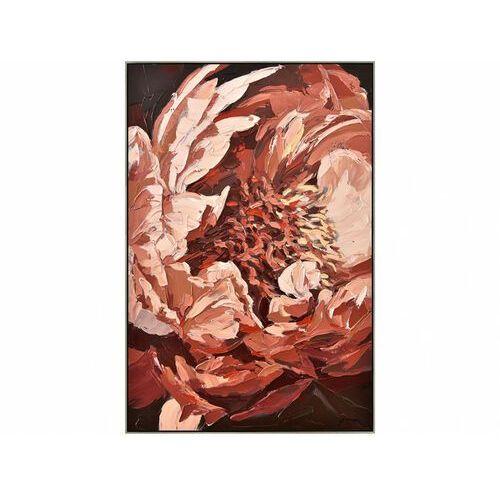 Obraz olejny petale ręcznie malowany, złota rama – 60 × 90 cm – kolor czerwony marki Vente-unique