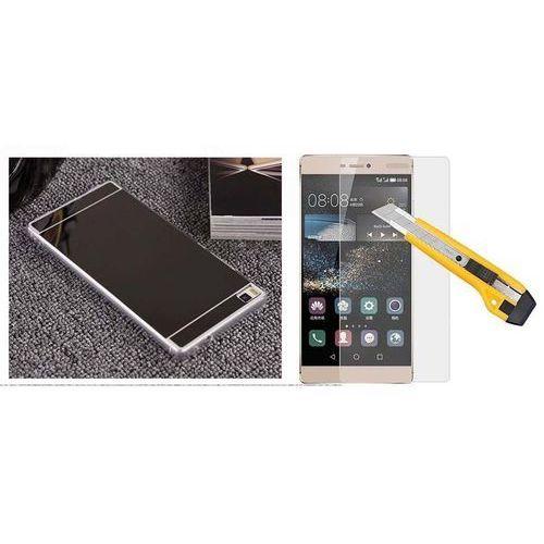 Zestaw   Slim Mirror Case Czarny + Szkło ochronne Perfect Glass   Etui dla Huawei P8, kolor czarny
