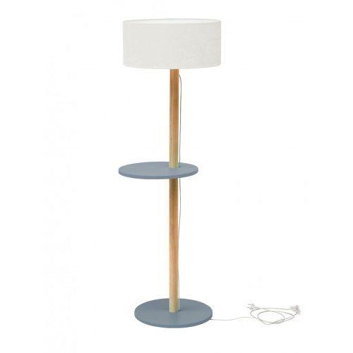 Lampa Podłogowa drewniana RAGABA UFO - ciemnoszara/abażur biały
