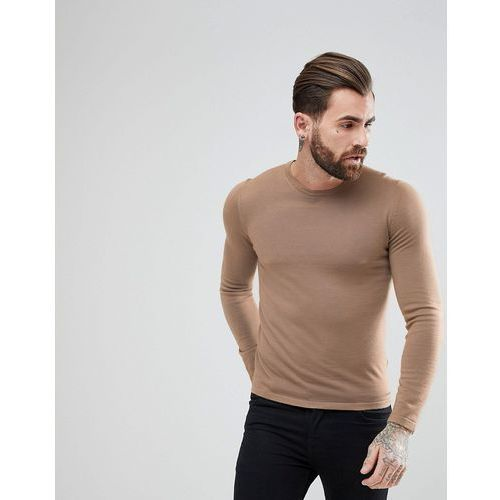 san paolo slim fit extra fine merino knitted jumper in camel - tan, Hugo