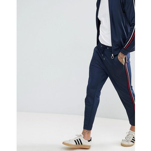 boohooMAN Funnel Neck Tracksuit With Side Stripe In Navy - Navy