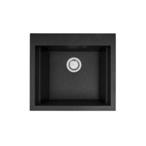 Zlewozmywak granitowy jednokomorowy PYRAMIS SIROS 57X51,5 1B 070084901 czarny (czarny nakrapiany) - 57x51,5 1B 070084901 czarny- Zamów do 16:00, wysyłka kurierem tego samego dnia! (5201217141219)