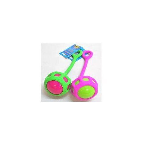 zabawka gumowa piłka 7cm z uchwytem do rzucania 24cm marki Yarro