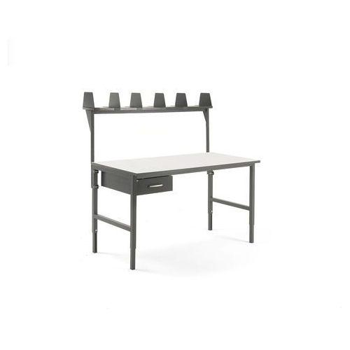 Stół roboczy CARGO, 1600x750 mm, szuflada, nadstawka