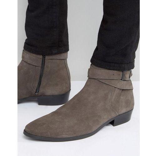 suede heeled chelsea boots in grey - grey marki River island