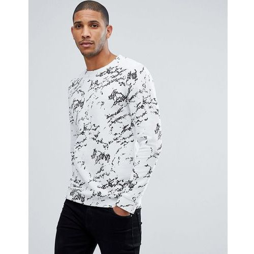 Tom Tailor Crew Neck Sweat With Marble Print - White