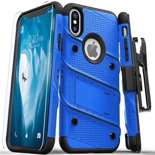 Zizo Bolt Cover Etui Pancerne iPhone Xs / X (Blue/Black) + Szkło Hartowane Na Ekran, kolor czarny