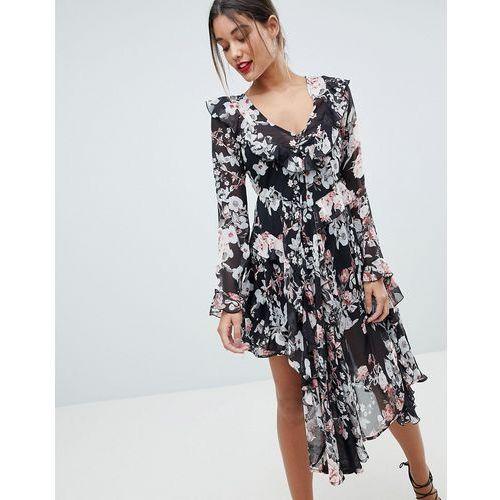 Missguided Floral Asymmetric Midi Dress - Black