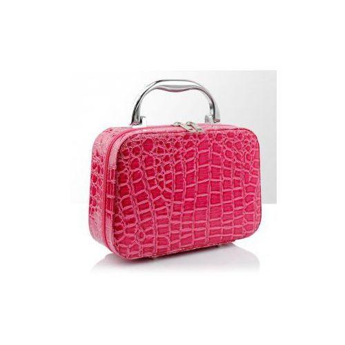 Vanity Kuferek na kosmetyki krokodyl różowy