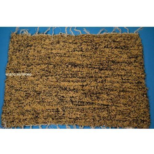 Twórczyni ludowa Chodnik bawełniany (wycieraczka) ręcznie tkany jasno-ciemny brąz 65x50