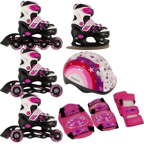 Łyżworolki - wrotki - łyżwy - kask 6w1 - różowy marki Enero