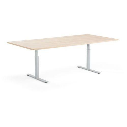 Stół konferencyjny MODULUS, 2400x1200 mm, regulacja, srebrna rama, dąb, 1613826