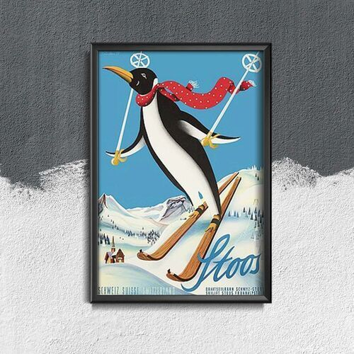 Plakat vintage do salonu plakat vintage do salonu pingwin narciarski stoos szwajcaria marki Vintageposteria.pl