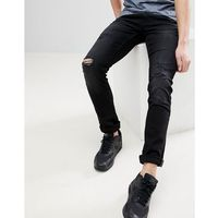 Blend jet slim fit distressed jeans in washed black - black