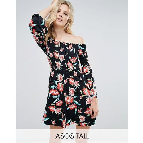 ASOS TALL Shirred Bardot Mini Dress With Trumpet Sleeve In Floral Print - Multi