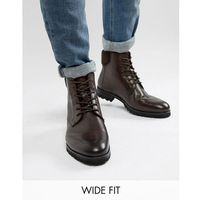 Dune wide fit lace up boots in brown leather - brown