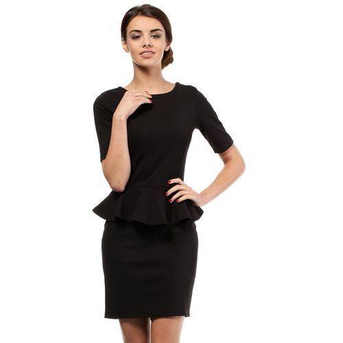 Czarna Elegancka Dzianinowa Sukienka z Baskinką, w 5 rozmiarach