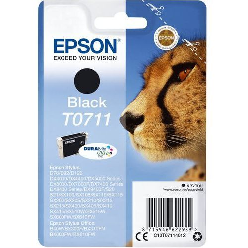 EPSON T0711 ink cartridge black standard capacity 7.4ml 1-pack blister without alarm (8715946622989)