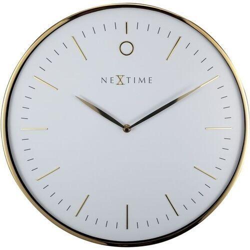 Nowoczesny zegar ścienny Glamour Nextime 40 cm, biały / złoty (3235 WI), kolor biały