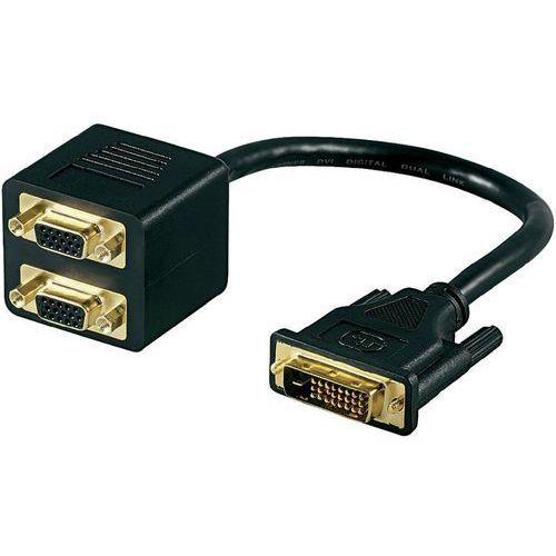 Rozdzielacz, adapter Y DVI, VGA Goobay 68737 15 cm, [1x złącze męskie DVI 12+5-pin - 2x złącze żeńskie VGA], pozłacane styki, 68737