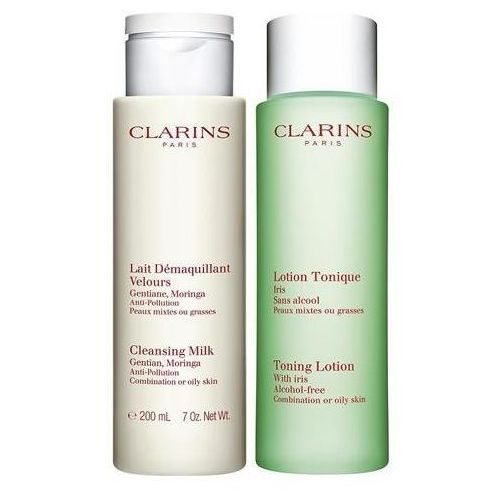 Clarins Cleansing duo zestaw lait demaguillant gentian moringa cleansing milk mleczko do demakijażu 200ml + lotion tonique with iris tonik odświeżający 200ml (3380810223842)