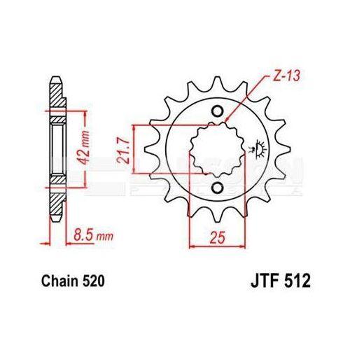 Zębatka przednia JT F512-17, 17Z, rozmiar 520 2200492 Kawasaki KLE 500, GPZ 500