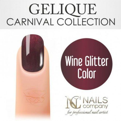 Nc nails company Nails company gelique wine glitter color 6ml - żel hybrydowy