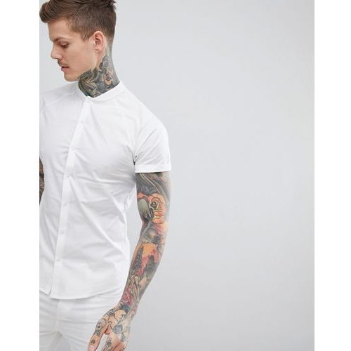 ASOS DESIGN Skinny Shirt With Baseball Collar In White - White, kolor biały