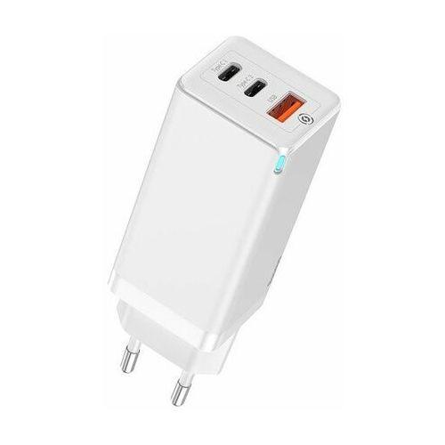 Baseus gan   ładowarka sieciowa 2x type-c + usb-a quick charge 3.0 power delivery 3.0 huawei scp 5a afc 65w   czarny - biały