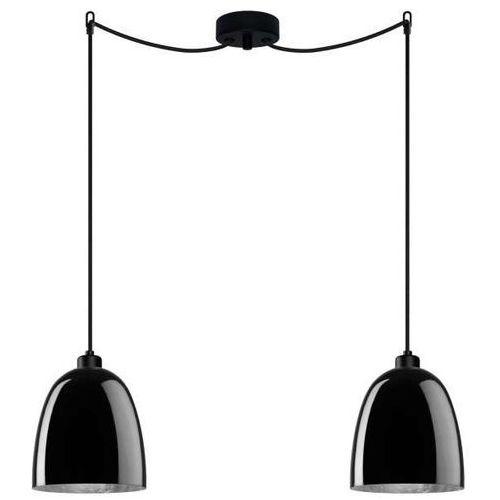 Sotto luce Lampa wisząca awa 2/s/black/silver szklana oprawa zwieszana czarna