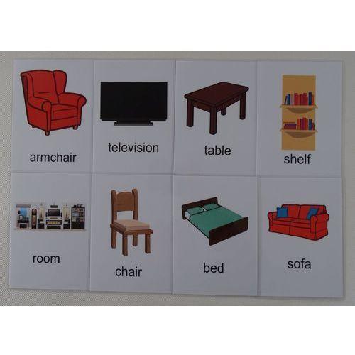 Pokój dzienny / akcesoria karty edukacyjne wersja w j. angielskim marki Bystra sowa
