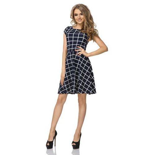 Sukienka Wzorzysta Rozkloszowana z Mini Rękawkiem Wzór - Wafelek, w 7 rozmiarach