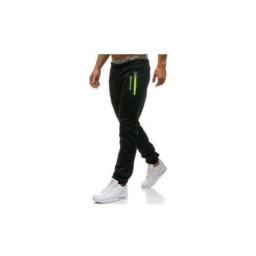 Spodnie męskie dresowe joggery czarne Denley W1620