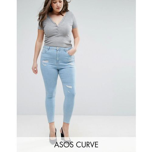 ASOS CURVE High Waist Ridley Skinny Jean In Hibiscus Light Wash Blue - Blue