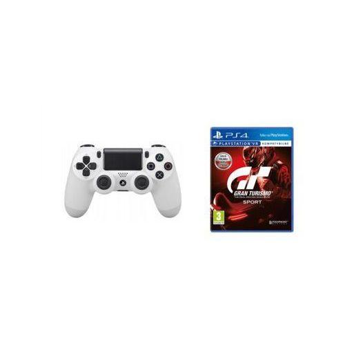 Sony interactive entertainment Kontroler bezprzewodowy sony playstation dualshock 4 v2 biały + gran turismo sport (5902002076555)