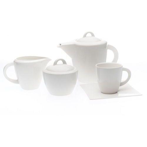 Duo 15 elem. serwis porcelana white biały kawowy