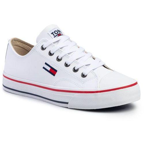 Trampki - wmns leather city sneaker en0en00746 white ybs marki Tommy jeans
