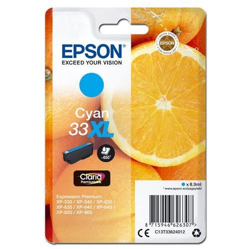 Oryginalny atrament t33xl [c13t33624012] cyan marki Epson