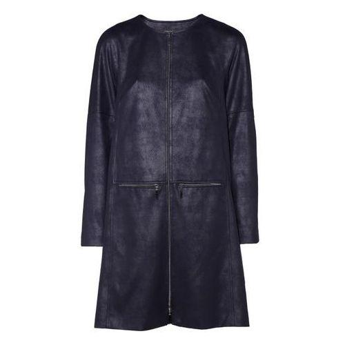 Płaszcz z tkaniny a la zamsz (Kolor: granat, Rozmiar: 38), 1 rozmiar