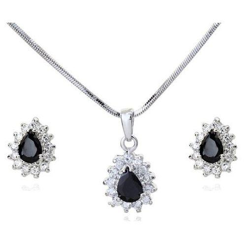 Kpl 599/568 komplet kolczyki i wisiorek z czarnymi łezkami plus łańcuszek, srebrny marki Mak-biżuteria