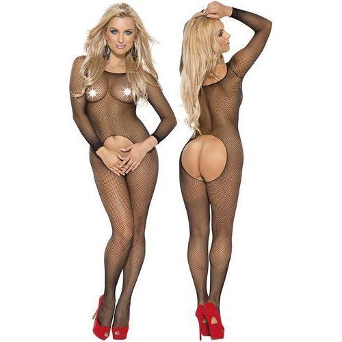 Roxana Czarny koci kombinezon kostium z dziurką w kroczu i długim rękawem 6373