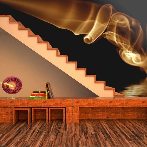 Murando Fototapeta pomarańczowy abstrakcyjny dym na czarnym tle 100401-23