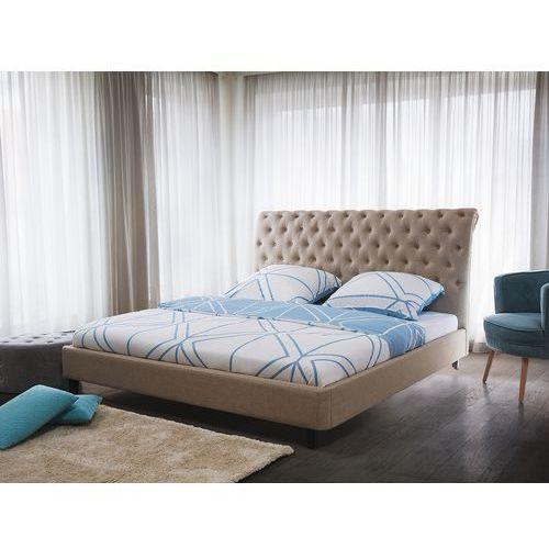 Łóżko beżowe - 180x200 cm - łóżko tapicerowane - stelaż - REIMS, kolor beżowy
