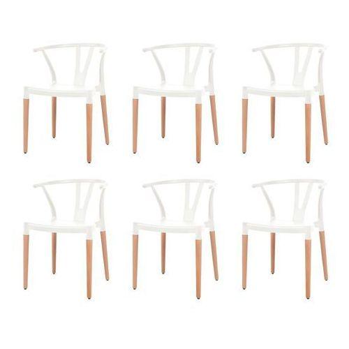 vidaXL Komplet 6 krzeseł, białe, plastikowe siedziska i stalowe nogi, kolor biały