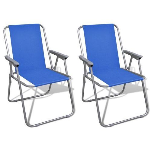 średni zestaw 2 składanych krzeseł kempingowych z torbą niebieskie marki Vidaxl