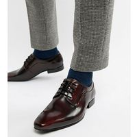 wide fit lace up derby shoes in burgundy high shine - red marki Dune