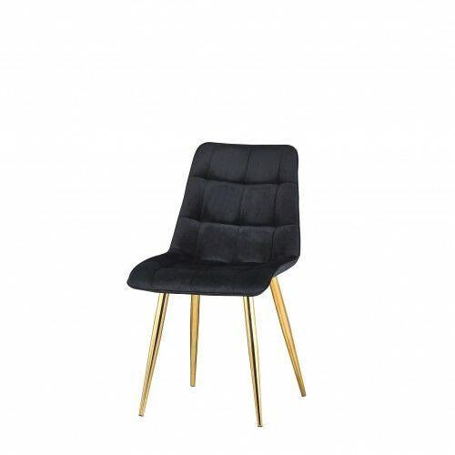 Big meble Krzesło tapicerowane welur czarne nogi złote big coral dostawa 0zł